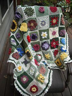 Ravelry: Afghaniac's Floral Sampler Afghan