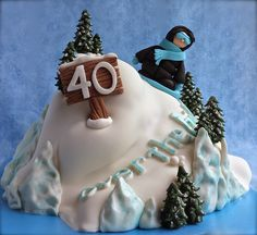 Snowboarding Over-the-Hill Cake Tutorial Girly Cakes, Fancy Cakes, Cute Cakes, Pretty Cakes, Snowboard Cake, Over The Hill Cakes, Cake Design For Men, 40th Cake, Sport Cakes