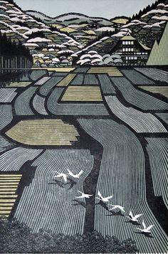 Японские пейзажи в ксилографии. Художник Ray Morimura. 40 гравюр