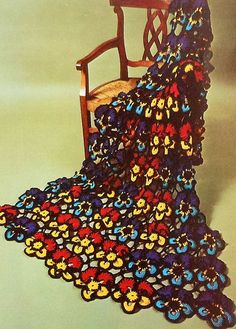 Retro Pansy Afghan Crochet Pattern