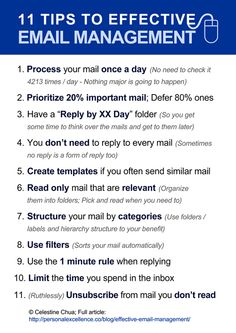 11 Tips to Effective EMAIL MANAGEMENT - Business Management - Ideas of Business Management - 11 tips to effective email management time management organisation. Time Management Tips, Business Management, Office Management, Effective Time Management, Project Management, Leadership, Work Productivity, Blogging, English Writing