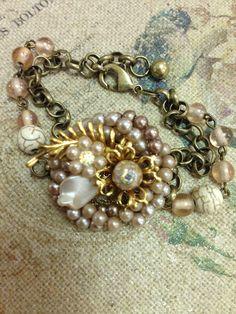 Blush, vintage earring turned bracelet on Etsy, $35.00