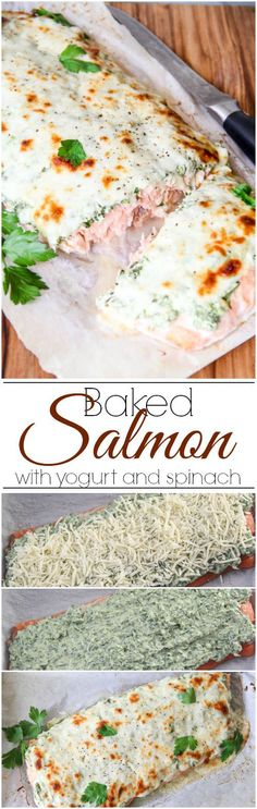 Baked Salmon with yogurt, spinach and cheese. ValentinasCorner.com