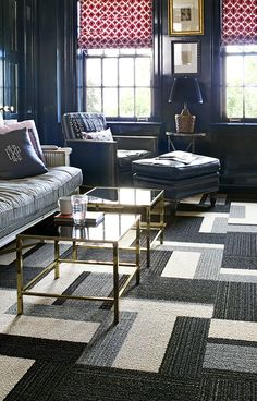 Attractive Indoor Outdoor Carpet for Home Decor: Family Room With Indoor Outdoor Carpet And Coffee Tables Also Recliner And Ottoman With Sofa Plus Bookshelves And Home Depot Rug For Home Depot Carpet Tiles With Window Shades Living Room Carpet, Living Room Decor, Living Spaces, Living Rooms, Grey Carpet, Modern Carpet, Carpet Squares, Indoor Outdoor Carpet, Interior Decorating
