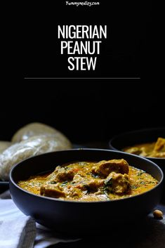 Groundnut soup (also called peanut stew) is a common but delicious Nigerian delicacy which is commonly eaten with rice, a starch like eba or pounded yam. West African Peanut Soup, West African Food, Top Recipes, Meat Recipes, Healthy Recipes, Light Soups, Nigerian Food, Black Food, New Cooking
