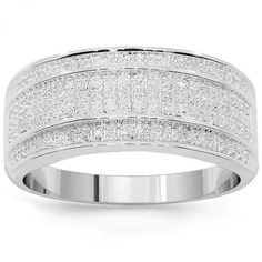 10K White Solid Gold Mens Diamond Wedding Band 0.38 Ctw