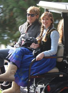 Scott Michael Foster & Elizabeth Lail on the set of Once Upon A Time - October 8, 2014