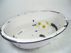 Vintage Black on White EnamelWare Porcelain Huge by DivineOrders