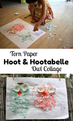 Torn Paper Hoot and Hootabelle Owl Collage, ready to send to Jimmy Giggle Animal Crafts For Kids, Craft Projects For Kids, Easy Crafts For Kids, Fun Crafts, Art For Kids, Art Projects, Creative Arts And Crafts, Creative Activities, Paper Owls