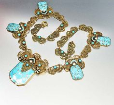 Turquoise Glass Enamel Czech Art Deco Necklace