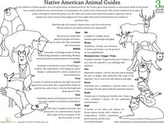 Worksheets: Native American Beliefs: Animal Guides