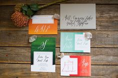 Wedding suite trends on the blog - number 5 is calligraphy! Calligraphy by LC Calligraphy. #bridesofoklahoma #weddinginvitations #calligraphy #weddingsuite #invitations