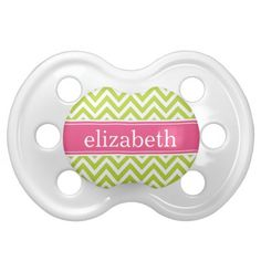 Apple Green & Pink Chevron & Monogram Baby Pacifiers