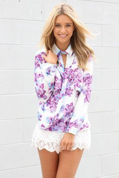 #saboskirt.com            #Skirt                    #SABO #SKIRT #Floral #Drape #Collar #Blouse #$52.00                           SABO SKIRT Floral Drape Collar Blouse - $52.00                                http://www.seapai.com/product.aspx?PID=1051635