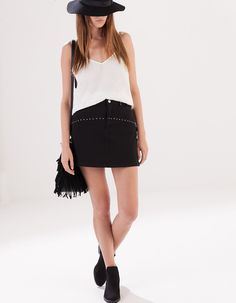Twill skirt with stud detail