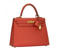 "Hermes ""Kelly"" Bag 25 Epsom Leather T5 Pink Jaipur GHW"
