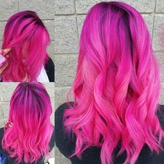 Hot, HOT pink by @hair_by_joelena_emila!