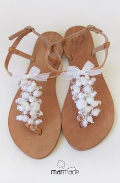 Bridal shoes - Handmade Leather Sandals decorated with White beads and ribbon