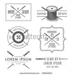 Set of vintage tailor labels and emblems - stock vector