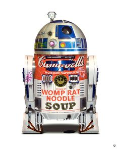R2D2 by JJ Adams based on Andy Warhol's Campbell Soup Can. Now available at www.imagesinframes.com #starwars