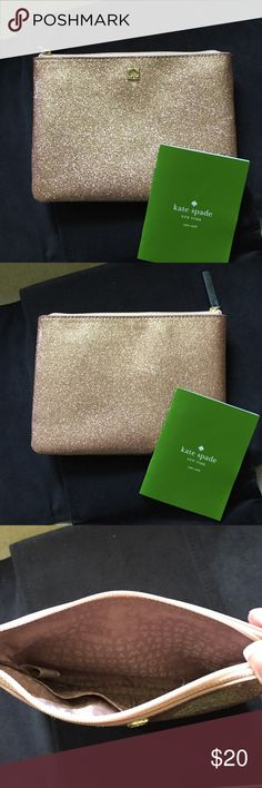 Kate Spade Vinyl Pouch Beautiful Kate Spade Rosegold Glitter Pouch with 2 little pockets on inside kate spade Bags Cosmetic Bags & Cases