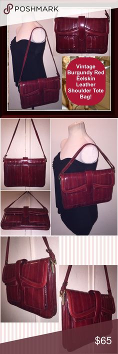 """VTG Burgundy Red Eelskin Leather Shoulder Tote Bag Vintage Burgundy Red Eelskin Leather Shoulder Tote Bag! Features: Genuine eel skin burgundy red leather, large size bag, double pocket front, snap closure, adjustable leather strap, one interior side pocket & three large separate compartments with a suede lining. Measures: 12"""" across x 8"""" high x 2"""" wide - up to 15"""" shoulder clearance. Int pocket zipper pull is missing. No rips, tears nor any offensive odors. VG condition. Offers welcomed…"""