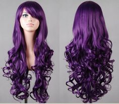 Im not all into wigs and stuff...but im random and i would really wear this purple wig and dare a mofo to say something....  fashion lady's long curly purple color hair wig - Women's Wigs