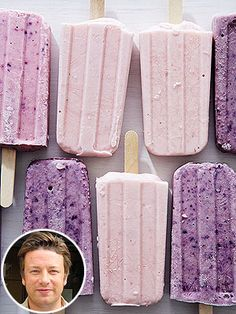 ♥Jamie Oliver's Yogurt Popsicles ~Fresh Bananas, Strawberries or Blueberries, Non-Fat Plain Yogurt, Honey. Delicious and healthy!
