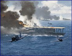 This stunning combat art reveals what aerial warfare was like during World War II Navy Aircraft, Military Aircraft, Military Art, Military History, Uss Hornet, Imperial Japanese Navy, War Thunder, Airplane Art, Naval History