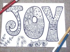 joy christmas adult coloring book kids di LaSoffittaDiSte su Etsy