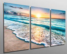 Metal Prints - Sunrise over beach in Cancun - 3 Panel split, Triptych - Metal wall art HD aluminum prints for wall decor & interior design