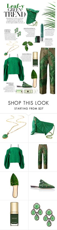 """""""Leaf-y Greens"""" by cranetattoo ❤ liked on Polyvore featuring Hellessy, F.R.S For Restless Sleepers, Charlotte Olympia, Larkspur & Hawk, GREEN and leafy"""