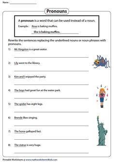 Replacing Nouns with Pronouns Pronoun Worksheets, Math, Math Resources, Mathematics
