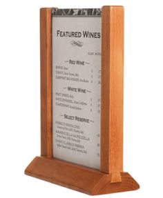 Wooden Table Top Menu Holder