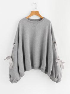 Shop Eyelet Bow Tie Detail Sweatshirt online. SheIn offers Eyelet Bow Tie Detail Sweatshirt & more to fit your fashionable needs. Modest Fashion, Fashion Outfits, Fast Fashion, Fashion Clothes, Fashion Online, Casual Outfits, Cute Outfits, Clothing Haul, Fall Outfits For Work