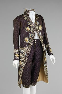 Court Suit,1780–90, French (probably), silk. The professional elaborate embroidery on this coat is distinctive with fanciful floral motifs of an exotic nature and commonly unused colors such as orange. Embroidery of this caliber would have been reserved for formal occasions, such as a court appearance.