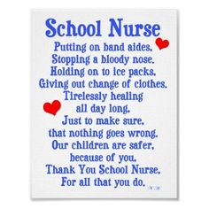 School Nurse Poems-Cindy, this is for you and one day will hopefully be me as well!