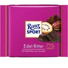 RITTER SPORT Edel-Bitter Schokolade (bis 2013 im Sortiment, wurde danach mit 73% Kakao und verbesserter Rezeptur wieder ins Sortiment genommen)