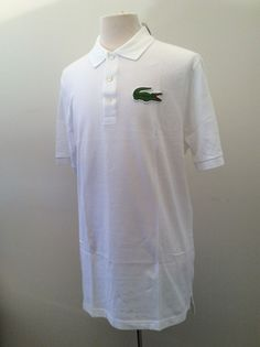 NWT Mens LACOSTE Polo BIG alligator croc shirt size 7 Large Tall White $110 #Lacoste #PoloRugby