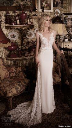 naama anat fall 2016 bridal dresses beautiful sheath wedding dress lace strap v neckline lace bodice style gorgeous