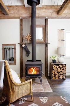tiny living room with wood burning stove, wood storage, open wood beams Wood Stove Hearth, Stove Fireplace, Fireplace Tools, Cozy Fireplace, Corner Wood Stove, Wood Stove Wall, Wood Stove Surround, Fireplace Ideas, Hearth Pad