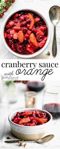 You'll want to save this Cranberry Sauce with Orange recipe for Thanksgiving. It's so easy to stir together this lower sugar cranberry compote which has diced apples, orange juice and allspice. Once the cranberries are cooked, add in fresh orange segments Cranberry Salad, Cranberry Orange Sauce, Cranberry Recipes, Orange Recipes, Orange Juice, Recipe For Cranberry Sauce, Healthy Thanksgiving Recipes, Thanksgiving Drinks, Gourmet