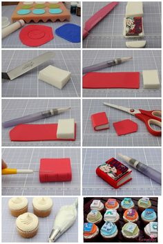 Cupcakes fondant tutorial decorating supplies 16 ideas for 2019 Fondant Cupcakes, Book Cupcakes, Fondant Toppers, Cupcake Cakes, Cake Decorating Supplies, Cake Decorating Tutorials, Cookie Decorating, Decorating Ideas, School Cupcakes