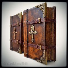 Rosicrucian journals... 10 x 8 inches; personalization; 700 pages; brass cornering; straps; hand carvings; leather aging; etc.