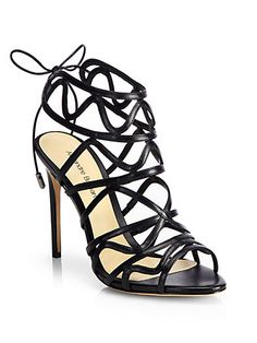 Shop now: Alexandre Birman leather cage sandals