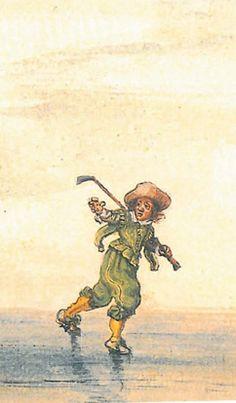 A boy wearing ice spurs plays a long-variant of IJskolf. Adriaen van de Venne, 1626.