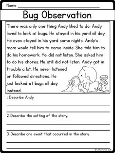 First Grade Reading Comprehension, Reading Comprehension Worksheets, 2nd Grade Reading, Reading Fluency, Reading Passages, Comprehension Exercises, Reading Response, Reading Groups, Story Elements Worksheet