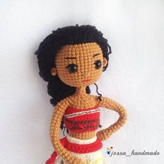 Crochet Doll Pattern Disney Moana Princess by JossaHandmadeStore