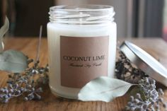 6oz coconut lime scented soy candle