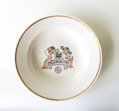 Children Bowl Vintage White Fine China with by MerilinsRetro, $15.00